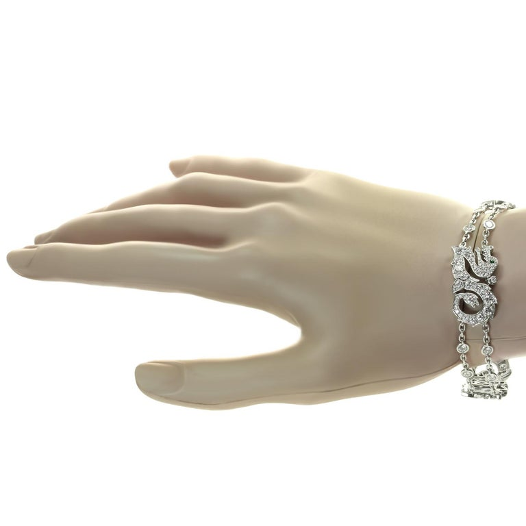 Cartier Diamond Emerald White Gold Dragon Bracelet 4