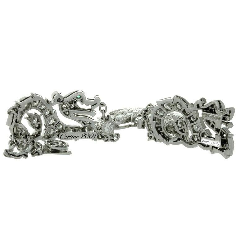 Cartier Diamond Emerald White Gold Dragon Bracelet 5
