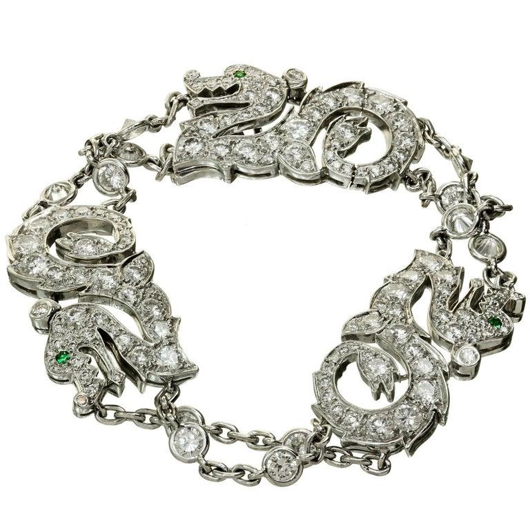 Cartier Diamond Emerald White Gold Dragon Bracelet 1