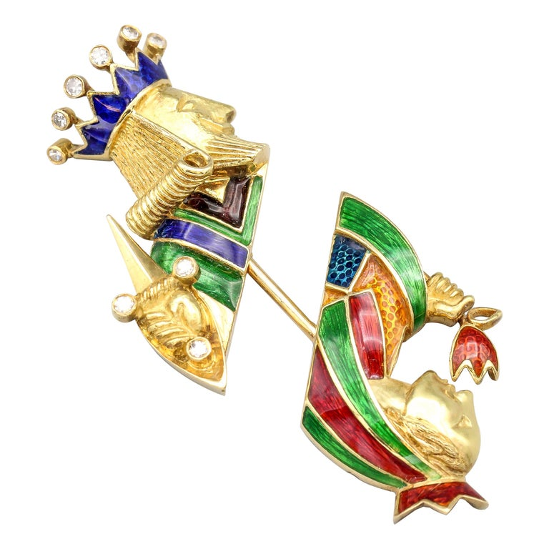 Cartier Diamond Enamel and 18 Karat Gold King and Queen Jabot Brooch For Sale