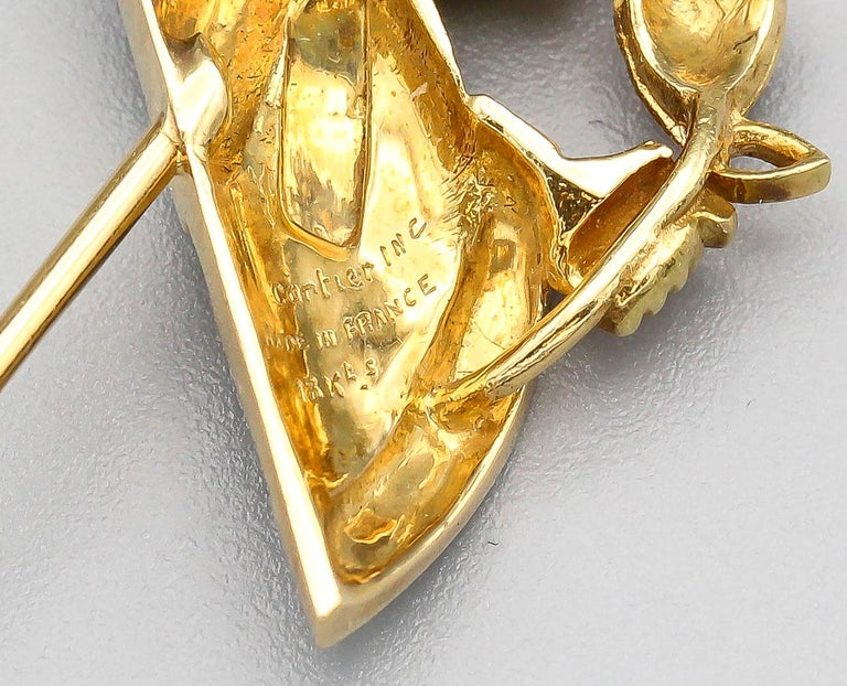Women's Cartier Diamond Enamel and 18 Karat Gold King and Queen Jabot Brooch For Sale