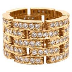 Cartier Diamond Five-Row Band Ring in 18 Karat Yellow Gold