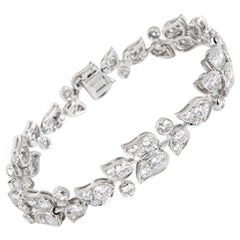 Cartier Diamond Floral Bracelet in 18 Karat White Gold '7.50 Carat'