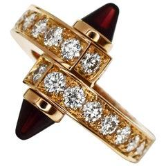 Cartier Diamond Garnet 18 Karat Pink Gold Menotte Ring