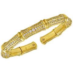 Cartier Diamond Gold Bamboo Cuff Bangle Bracelet