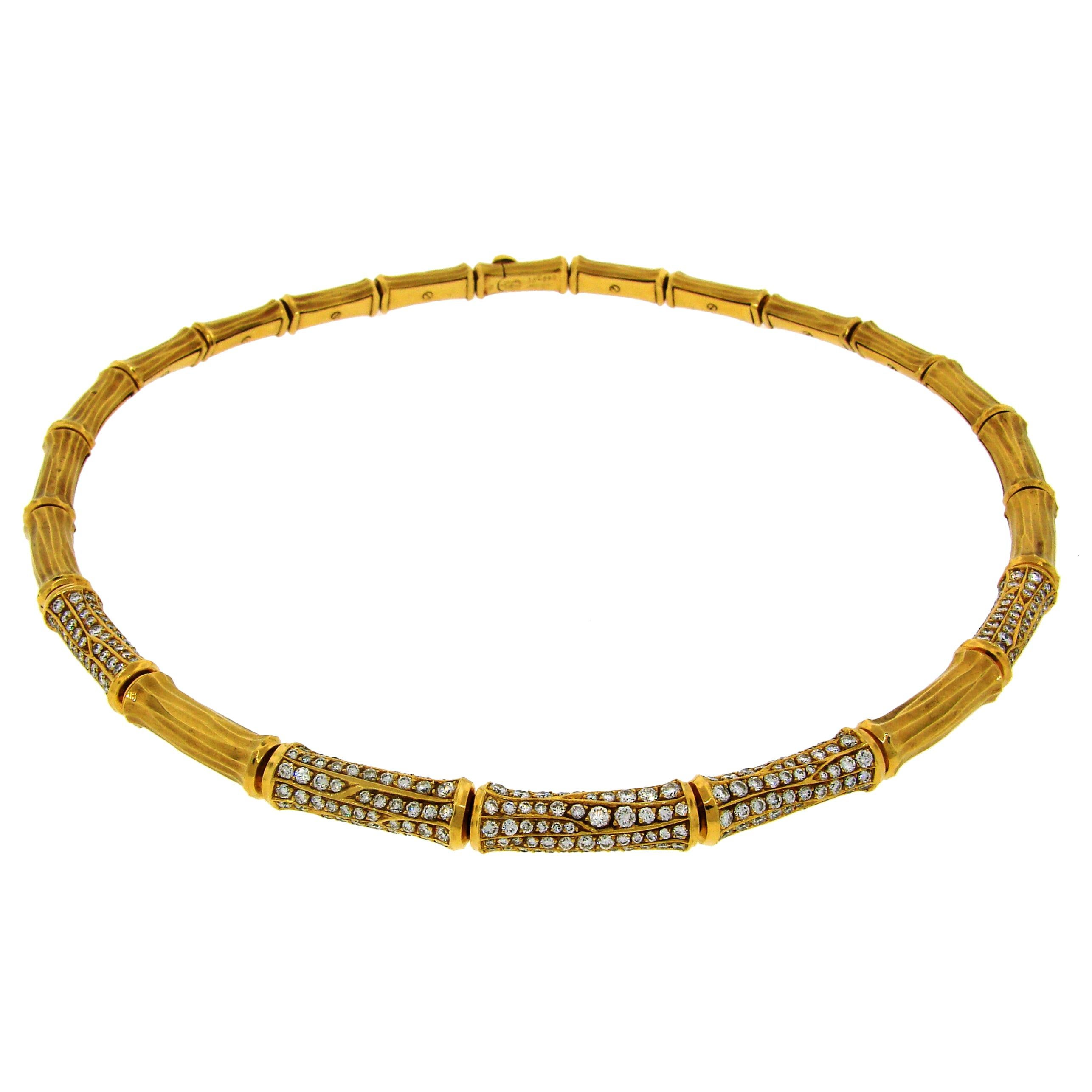 Cartier Diamond Gold Bamboo Necklace