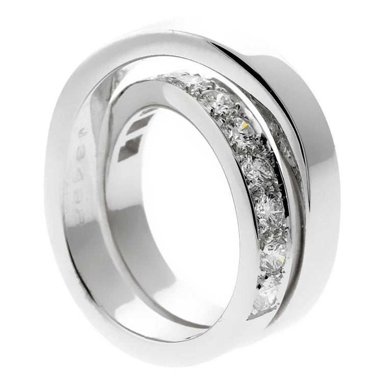Women's Cartier Diamond Gold Bypass Ring For Sale