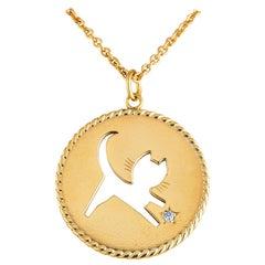 Cartier Diamond Gold Cat Pendant Charm Necklace