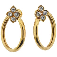 Cartier Diamond Gold Circle Earrings