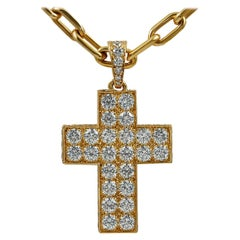 Cartier Diamond Yellow Gold Cross Pendant