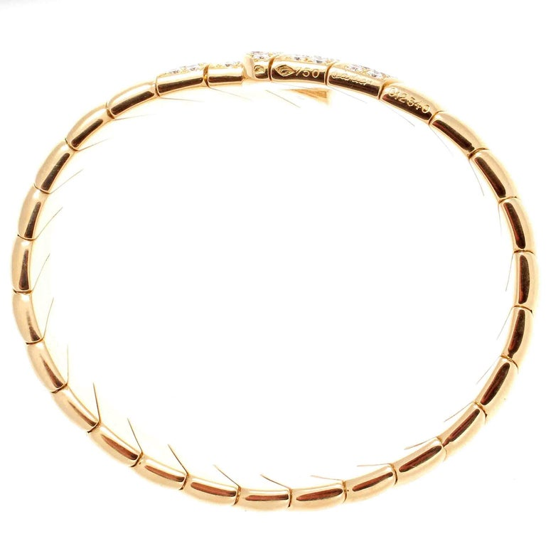 Cartier Diamond Gold Cuff Bracelet In Excellent Condition For Sale In Beverly Hills, CA
