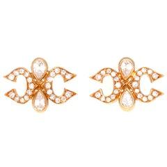 Cartier Diamond Gold Double C Earrings