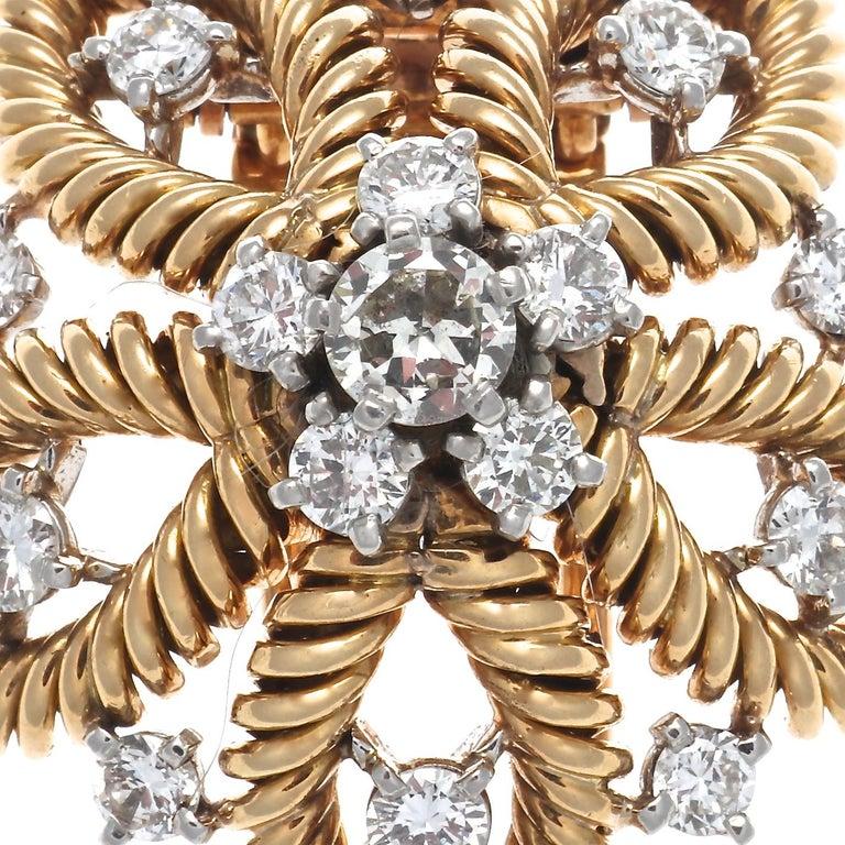 Retro 1950s Cartier Paris Diamond Gold Flower Brooch For Sale