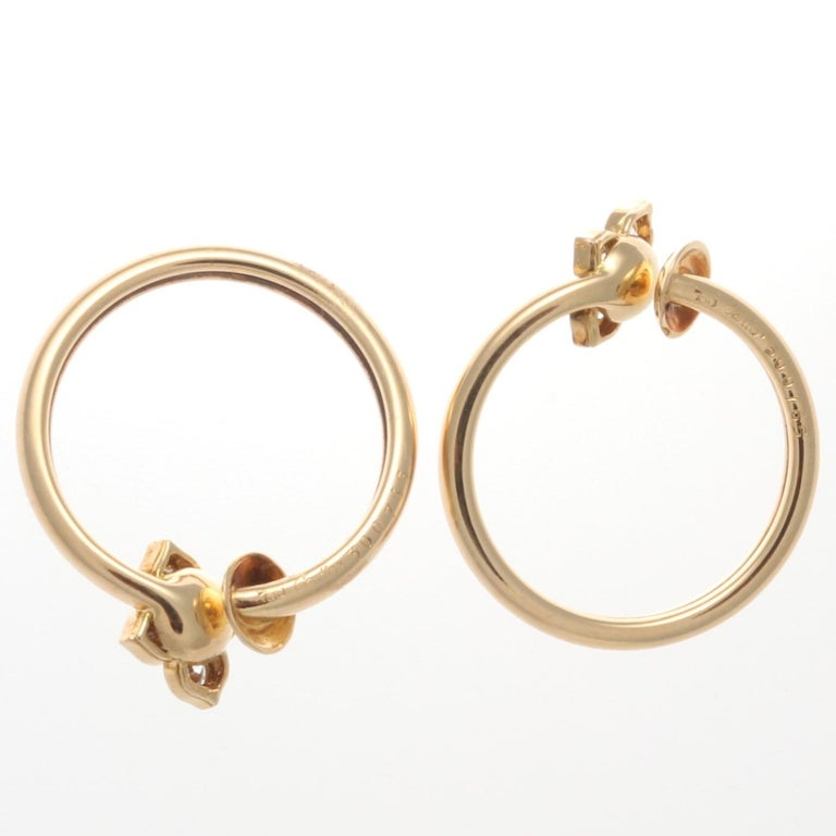 Modern Cartier Diamond Gold Flower Hoop Earrings For Sale