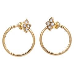 Cartier Diamond Gold Flower Hoop Earrings