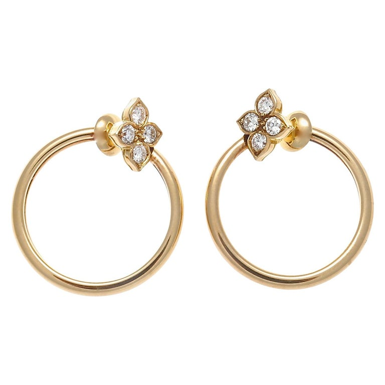 Cartier Diamond Gold Flower Hoop Earrings For Sale