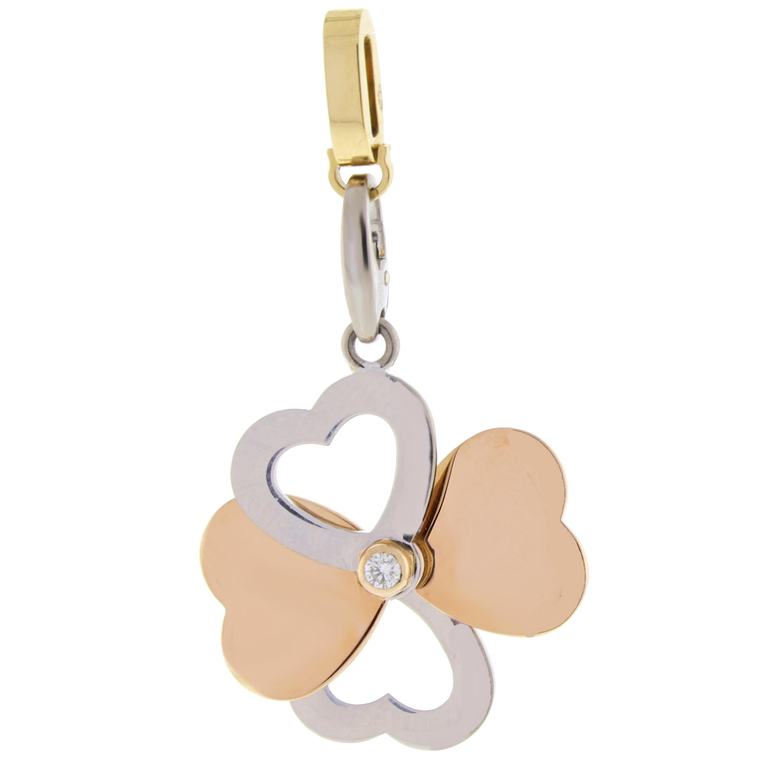 Cartier Diamond Gold Heart Clover Charm