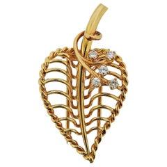 Cartier Diamond Gold Leaf Brooch Pin
