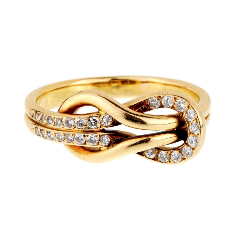Cartier Diamond Gold Love Knot Ring For Sale At 1stdibs