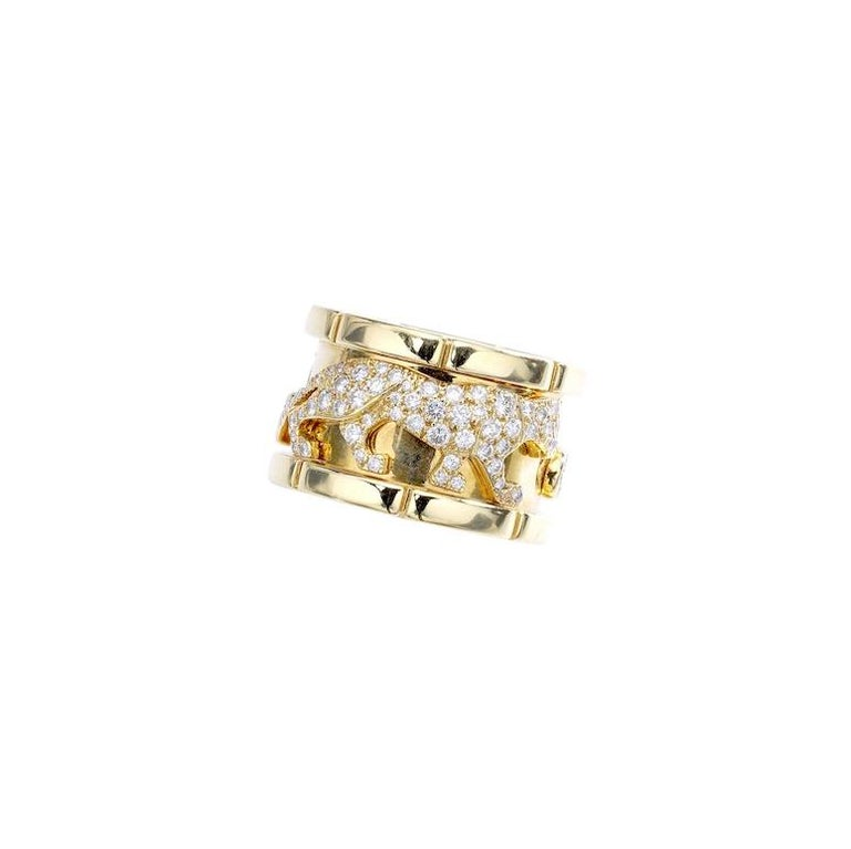 bea9235c8c9f0 Cartier Diamond Gold Panther Band Ring