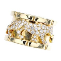 Cartier Diamond Gold Panther Band Ring