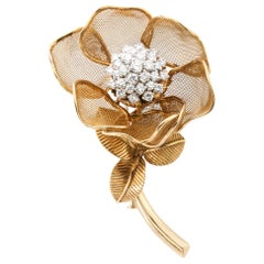 Cartier Diamond Gold Rose Flower Movable Brooch, 1955