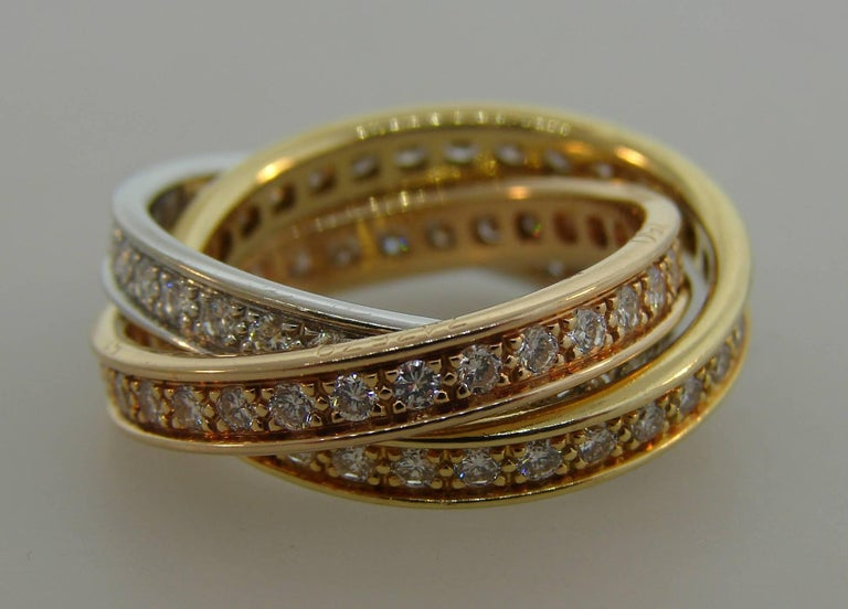 Cartier Diamond Gold Trinity Band Ring In Excellent Condition For Sale In Beverly Hills, CA