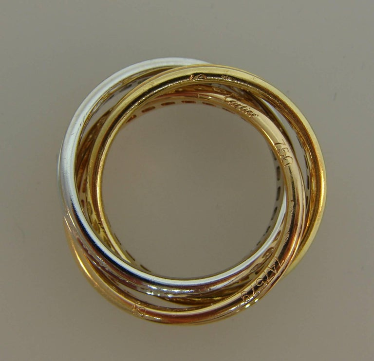 Women's Cartier Diamond Gold Trinity Band Ring For Sale