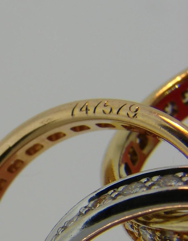 Cartier Diamond Gold Trinity Band Ring For Sale 2