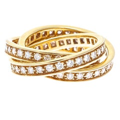 Cartier Diamond Gold Trinity Ring