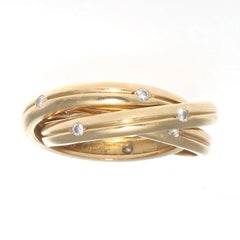 Cartier Diamond Gold Trinity Ring
