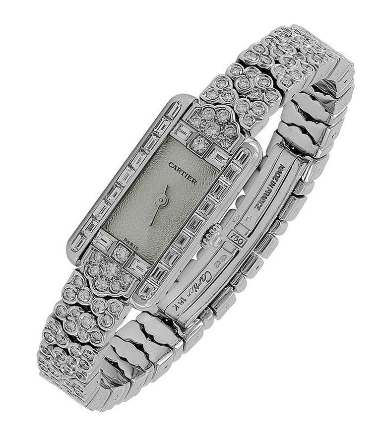 Women's Cartier Diamond Gold Watch For Sale