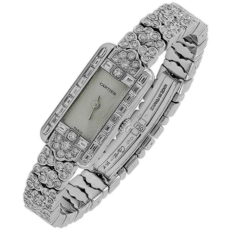 Cartier Diamond Gold Watch For Sale