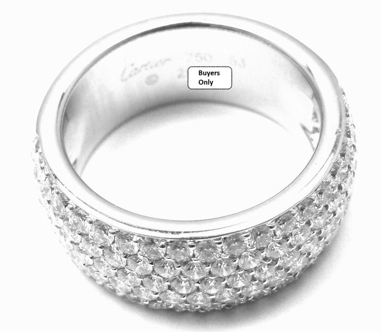 Cartier Diamond Gold Wide Band Ring For Sale 5