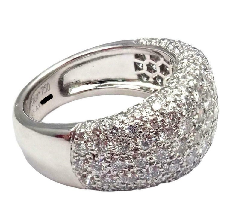 18k White Gold Diamond Wide Band Ring by Cartier. With 133 Round Brilliant Cut Diamond VVS1 clarity, E color total weight approx. 3.5ctw This ring comes with original Cartier box.  Details: Ring Size: European 53 US 6 1/4 Weight: 10.4 grams Width: