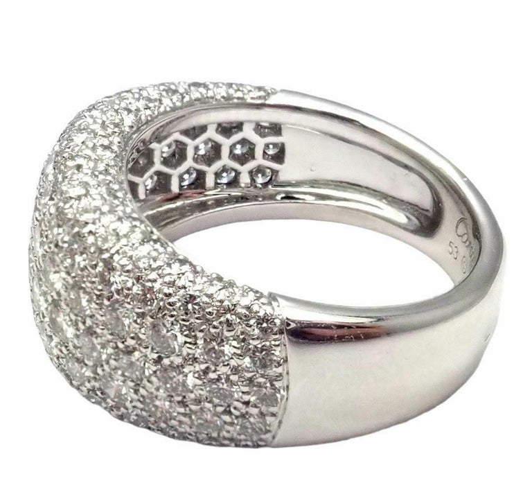 Round Cut Cartier Diamond Gold Wide Band Ring For Sale