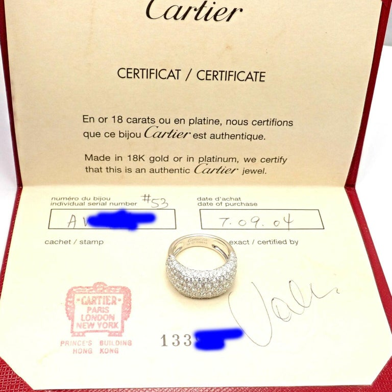 Cartier Diamond Gold Wide Band Ring For Sale 1