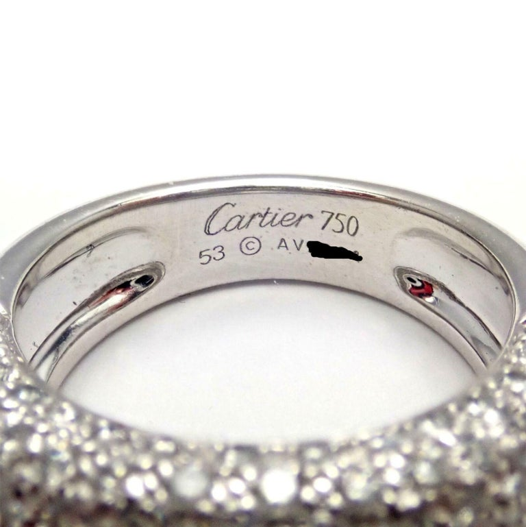 Cartier Diamond Gold Wide Band Ring For Sale 2
