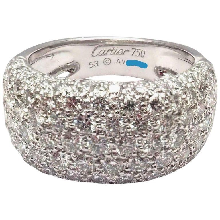 Cartier Diamond Gold Wide Band Ring For Sale