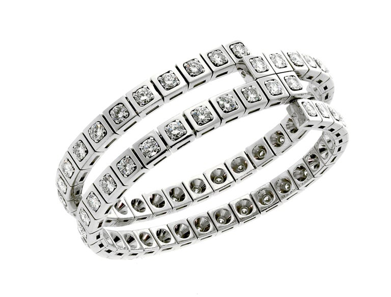 Cartier Diamond Gold Wrap Tennis Bracelet In Excellent Condition For Sale In Feasterville, PA
