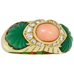 Cartier Diamond Green Rhodochrosite Pink Coral Yellow Gold Ring