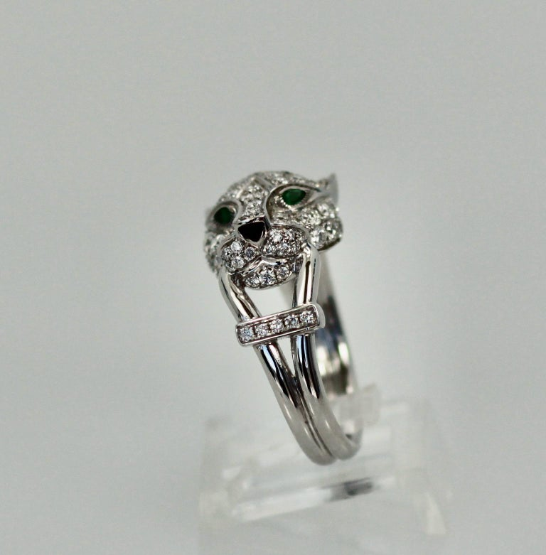 Modern Cartier Diamond Head Panthere Ring For Sale