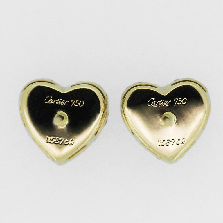 Cartier Diamond Heart Shape Earrings and Ring in 18 ct Gold for Valentines In Good Condition For Sale In London, GB