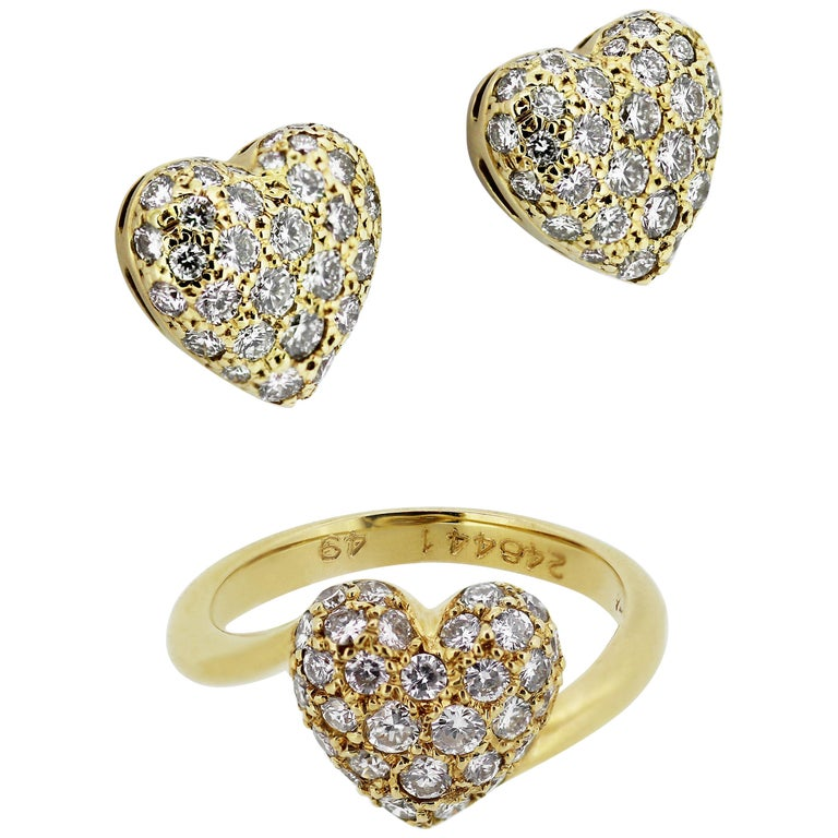 Cartier Diamond Heart Shape Earrings and Ring in 18 ct Gold for Valentines For Sale