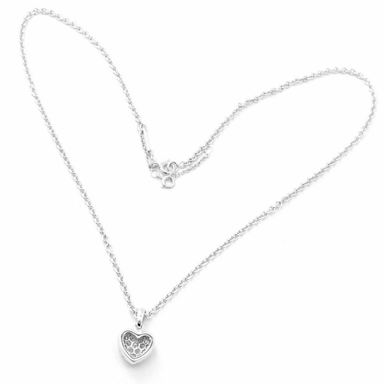 Cartier Diamond Heart White Gold Pendant Necklace In Excellent Condition For Sale In Holland, PA
