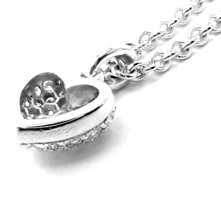 Women's or Men's Cartier Diamond Heart White Gold Pendant Necklace For Sale