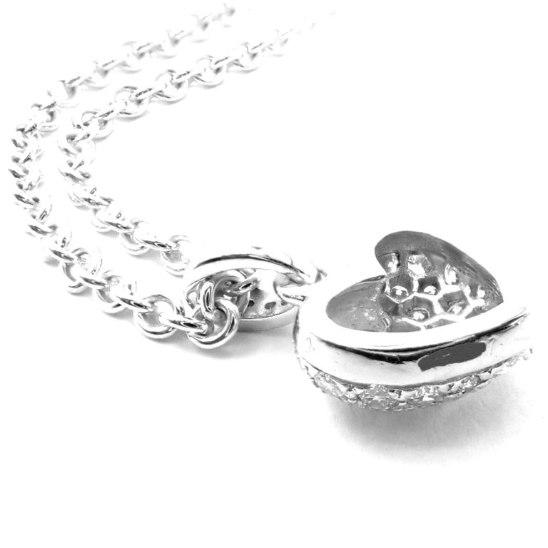 Cartier Diamond Heart White Gold Pendant Necklace For Sale 1