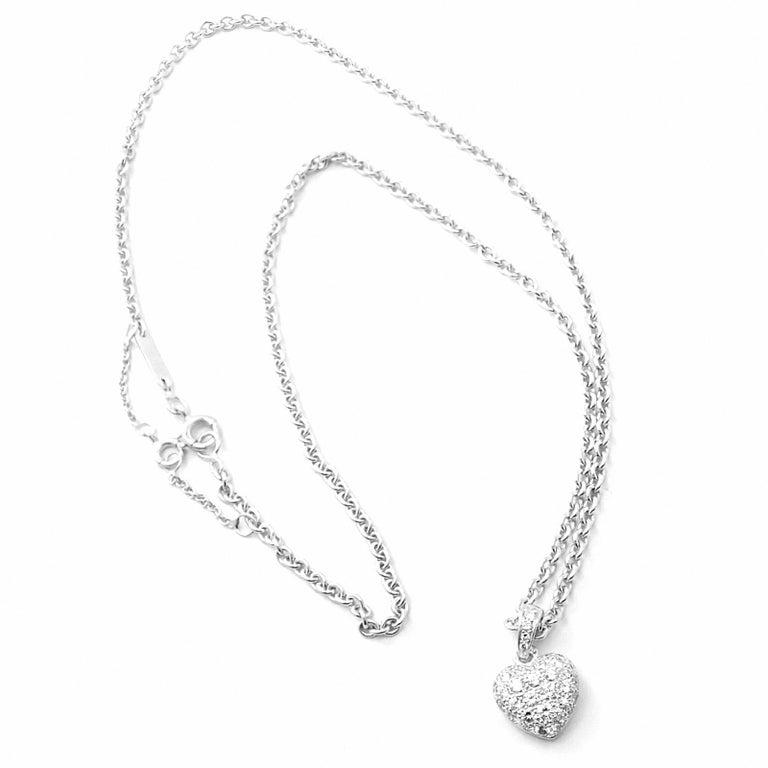Cartier Diamond Heart White Gold Pendant Necklace For Sale 4