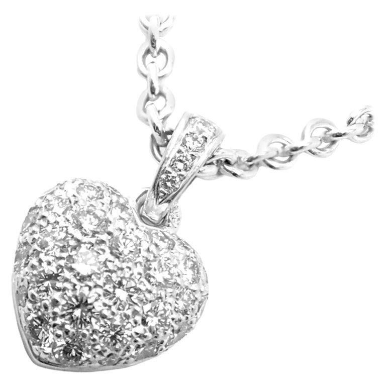 Cartier Diamond Heart White Gold Pendant Necklace For Sale