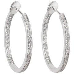 Cartier Diamond Hoop Earring in 18 Karat, 1.80 Carat
